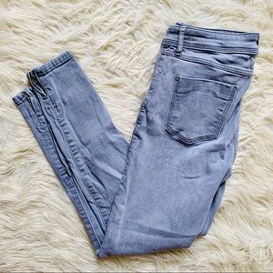 Zara Basic Grey Zipper Hem Skinny Denim Jeans
